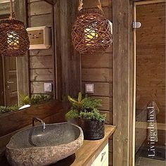 Discover recipes, home ideas, style inspiration and other ideas to try. Cabin Homes, Log Homes, Interior Stairs, Home Interior Design, Cabin Bathrooms, Dark Bathrooms, African House, Log Home Designs, Relaxation Room