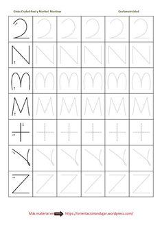 Ejercicios de grafomotricidad Learning The Alphabet, Alphabet Activities, Tracing Worksheets, Preschool Worksheets, Pre Writing, Fine Motor Skills, Diy For Kids, Homeschool, Lettering