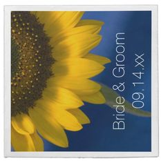 #Sunflower on Blue #Wedding Paper #Napkins Customize the pretty Sunflower on Blue Wedding Paper Napkins with the personal names of the bride and groom and marriage ceremony date. These elegant custom sunflower wedding napkins feature a floral photograph of a yellow sunflower blossom with a blue background. Perfect to complement a classy June, July or August summer; September, October or November fall or sunflower theme. #sunflowerwedding #weddingnapkins #sunflowers