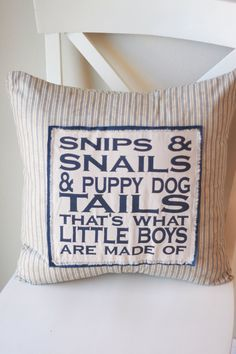Snips and Snails and Puppy Dog Tails Stenciled Pillow. Vintage look for a boys room