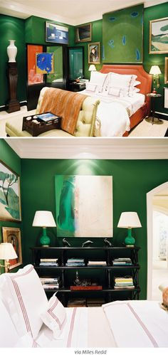 love the green/white art and green lamps