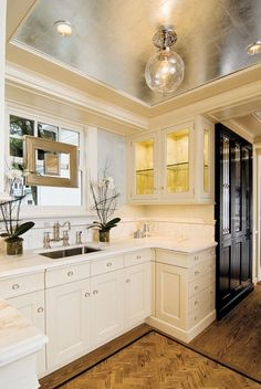 Suzie: Design NJ - Gorgeous butler's pantry with silver foil metallic tray ceiling with ...