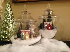 Winter wonderland snow globe in apothecary jars #christmas #DIY
