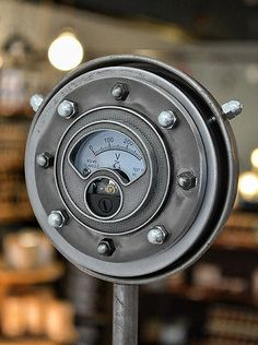 Steamlight Gauge - Nickel Finish - Steampunk Gauge - Industrial Gauge - Gears