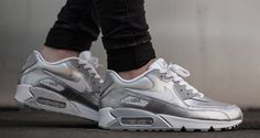 "Nike Air Max 90 GS ""Metallic Silver"" Available Now"
