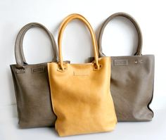 Olive Leather Shopper Waxed Leather Tote Bag by LABOURofART