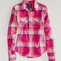 AE Favorite Light Flannel Shirt ($35) ❤ liked on Polyvore featuring tops, red, pink flannel shirt, plaid shirts, plaid button-down shirts, red button shirt and pink top