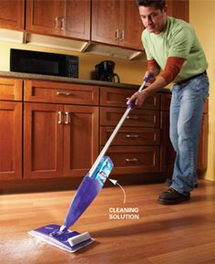 Had to pin... a guy mopping!  Professional house cleaners spill their best-kept secrets to save you time and effort.