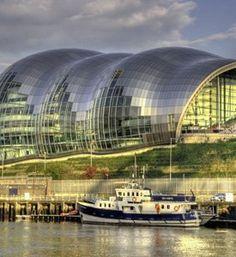 The Sage Gateshead sits along the River Tyne,,