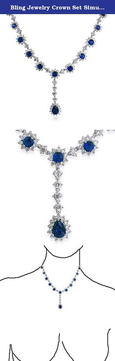 Bling Jewelry Crown Set Simulated Sapphire CZ Necklace Rhodium Plated. Add an element of royal flare to with our CZ Flower Crown Set Necklace. A stunning deep blue CZ Simulated Sapphire teardrop is bordered by CZ jewelry stones. The necklace pendant hangs from a necklace that is made up of dazzling cz flowers with colorless cz accents that resemble beautiful jewelry. This Simulated Sapphire necklace is rhodium plated for a shining white Gold Plated look and has a box and safety clasp…