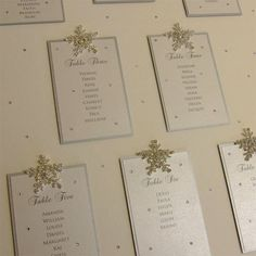 Beautiful crystal snowflake winter wonderland wedding table plan in silver and white. Finished with crystal snowflakes. Available to buy online from Wedding Table Themes, Seating Plan Wedding, Plan Your Wedding, Seating Plans, Table Seating, Snowflake Wedding, Christmas Wedding, Winter Table, Crystal Snowflakes