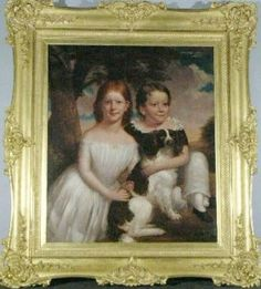American School  19th Century  THE REED CHILDREN WITH THEIR PET SPANIEL, circa 1840   Oil on canvas  41 1/4 x 33 3/4 inches