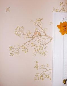 another pretty stencil idea - i don't usually like birds, but i kinda like the two birds on the tree branch...