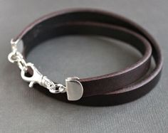 Men's Leather Wrap Bracelet, Silver and Leather Bracelet, Brown Leather Wrap