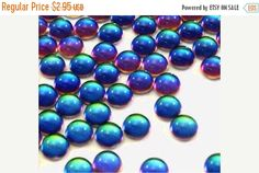 20% OFF - 12 Bermuda Blue 5mm Shiny Translucent Round Glass Flat Back Special Effect Coated Cabochons, Shifting Shades of Aqua, Violet, Gree