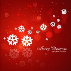 Cartão de Natal vermelho com flocos de neve