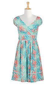 Radiating floral print cotton dress