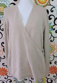 J.Jill Women Beige Wrap Sweater Size L #JJill #Sweater