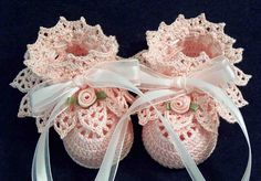 Crochet Pink Antique Lace Booties Newborn Baby Girl. $15.00, via Etsy.