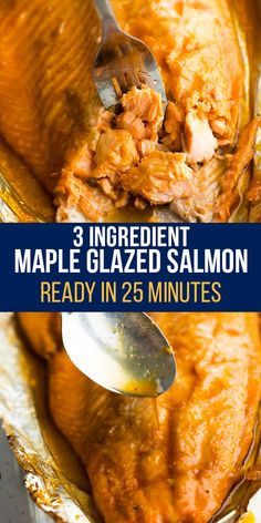 3 ingredient maple glazed salmon has a sticky sweet and savory sauce you can spoon over rice and veggies! So easy to make, you can have this on your table in 25 minutes or less.#sweetpeasandsaffron #simpleingredients #salmon #readyin25 #easydinner #summerdinner Best Lunch Recipes, Beef Recipes, Low Carb Recipes, Amazing Recipes, Low Carb Lunch, Lunch Meal Prep, Meal Prep Bowls, Maple Glazed Salmon, Saffron Recipes