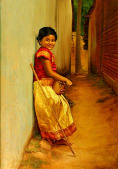 Tamil little standing in small street - Painting by S. Elayaraja