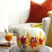 pumpkin, autumn craft, leaves, white pumpkin, autumn centerpiece, pressed leaves