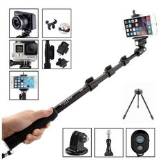 Mixbrix Professional Adjustable Handheld Self Portrait Selfie Stick Pole Monopod for Iphone 6 6+ 5 5s 4s 4 Samsung Galaxy S6 S5 S4 S3 Note 3 2 and Other Android Smartphones with Wireless Bluetooth Camera Remote Control Shutter Release and Tripod Mount for Gopro Hero 4 3+ 3 2 1 Camera #mixbrix #yunteng See detail at http://zingxoom.com/d/cwHHJ7Zi