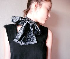 Black and grey Paisley Scarf or Belt by boutiqueseragun on Etsy, $14.00