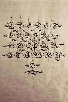 Diverse blackletter alphabets done with the parallel pen and pointed pen in…