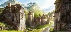 Nice fantasy village : super realistic painting Fantasy village Fantasy town Fantasy city