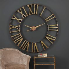 """Gorgeous over-sized iron clock features an antique bronze frame with antique golden champagne roman numerals and floating hands. Requires one """"AA"""" battery. Decor, Wall, Large Wall Clock Decor, Large Iron Wall Clock, Silver Wall Clock, Master Decor, Accent Furniture, Rustic Wall Clocks, Clock"""