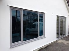 Image result for grey windows Grey Window Frames, Grey Windows, Front Doors With Windows, Upvc Windows, Aluminium Windows, House Doors, House Windows, Kitchen Sliding Doors, Bungalow Exterior