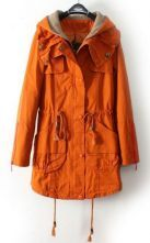 Orange Hooded Drawstring Waist Pockets Trench Coat