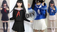 DIY Japanese Anime School Uniform: DIY Easy Long Sleeve Seifuku + DIY Se...