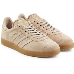 Adidas Originals Gazelle Suede Sneakers (€105) ❤ liked on Polyvore featuring shoes, sneakers, brown, urban shoes, adidas originals, urban footwear, suede leather shoes and brown shoes