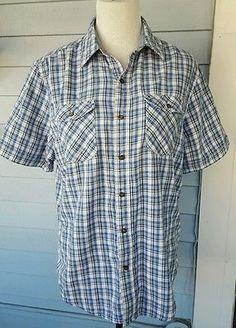 Timberland Men's Short Sleeved Plaid Cotton Button-Down Casual Shirt MEDIUM