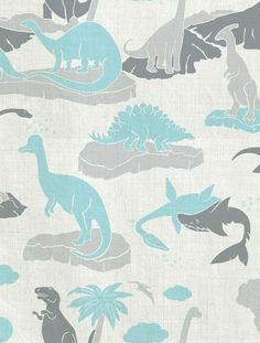 Pangea Designer Fabric by Aimée Wilder. Sold by the yard. Let your child's imagination roam wild with this Jurassic dinosaur print! Aimée's Pangea is the ultimate kid's pattern for pillows, upholstery