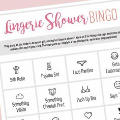Free Printable | Lingerie Shower Bingo