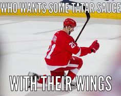Wings beat the Hawks in the Shootout thanks to a little Tatar Sauce magic ;) 2-18-15