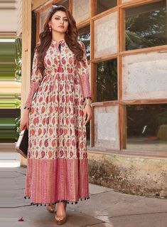 fdfefe5152 Buy Urvashi Rautela Beige Cotton Readymade Kurti 121829 online at lowest  price from our mens indo