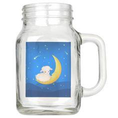 Lamb on The Moon Mason Jar - mason jars gifts ideas presents