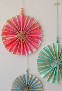 ~Make paper pinwheels and paint them with watercolors~
