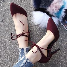 Chic Velvet Lace-up Stiletto Heels
