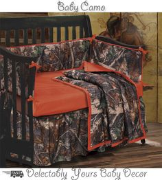 Oak Camo Baby Bedding Crib Set includes a camouflage comforter reversing to a solid super soft burnished red. A matching camo bedskirt & bumper pad with the red piping trim coordinates with the red fitted sheet completing the rough and tumble look! It's the perfect infant baby boy bedding for the outdoor wilderness lover's son.