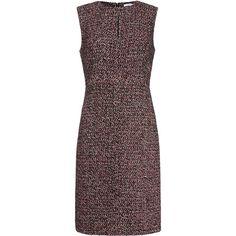 Diane von Furstenberg Yvette Tweed A-Line Dress (375 BAM) ❤ liked on Polyvore featuring dresses, платья, burgundy, exposed zipper dress, knee length fitted dresses, a line dress, knee high dresses and a line knee length dress