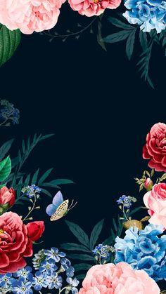 Wallpaper floral artworks 22 Ideas for 2019 Flower Background Wallpaper, Flower Backgrounds, Wallpaper Backgrounds, Frame Floral, Flower Frame, Floral Artwork, Butterfly Artwork, Floral Border, New Wallpaper