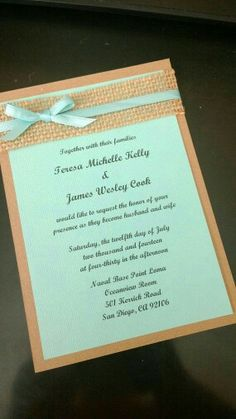 Mint and turquoise invitation