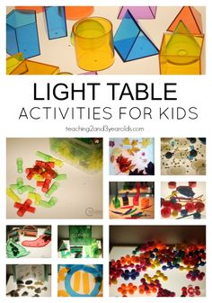 Fun Light Table Activities for Toddlers and Preschoolers - A great way to explore color while building fine motor skills! From Teaching 2 and 3 Year Olds Table Activities For Toddlers, Sensory Activities, Preschool Activities, Sensory Diet, Preschool Classroom, Toddler Preschool, Classroom Activities, Reggio Emilia, Early Learning