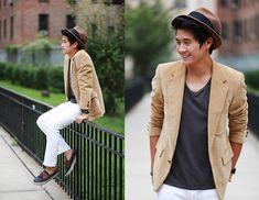 Corduroy blazer, H & M charcoal shirt, brown fedora, white pants, and boat shoes.