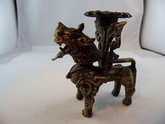 Kerzenleuchter Ständer Fabeltier Asia Bronze Gelbguss antique Museal